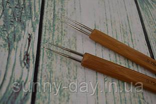 Крючок для вязания двойной с деревянной ручкой, №0,75