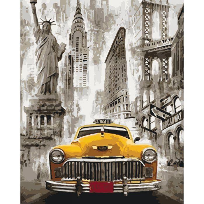 """Картина за номерами. Міський пейзаж """"Таксі Нью-Йорка"""" 40*50см KHO3506"""