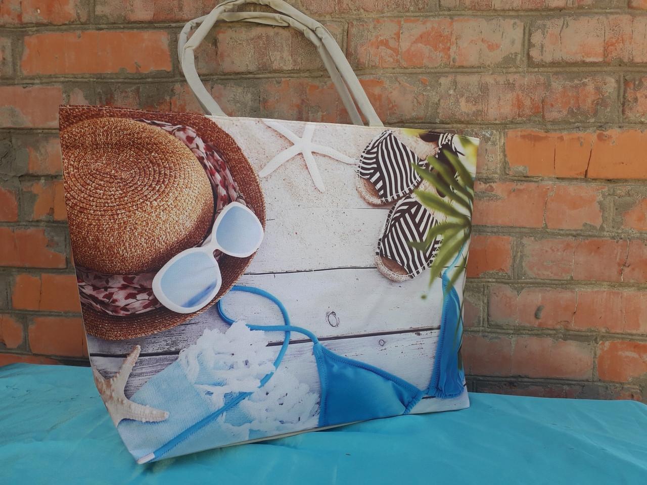 """Пляжна сумка жіноча велика літня з гарним принтом """"Морський пляж"""" 55*36 см П-1437"""