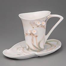 """Чашка, блюдце, ложка """"Метелик в квітах"""" (10 см)"""