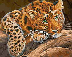 Алмазна мозаїка і картина за номерами Зеленоокий леопард GZS1115 40х50см Алмазна картина і набір для