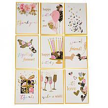 """Серия открыток """"Flowers"""" белые с золотым"""