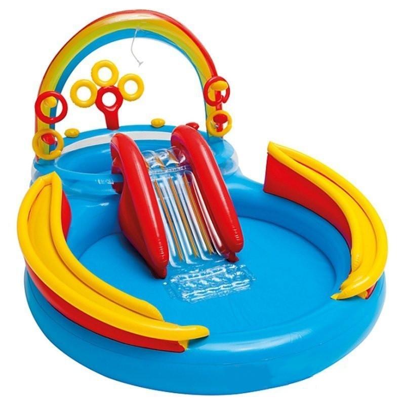 Надувной игровой центр бассейн Intex 57453 «Радуга» с надувными кольцами фонтаном и горкой