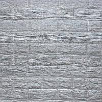 3Д-панелі під цеглу Сірі Цеглу Смужка декоративні панелі для стін самоклеючі ПВХ 700x770x5 мм