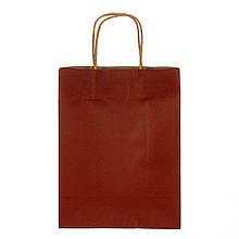 Крафтовый пакет бордовый 27*21*11 см