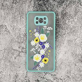 Чохол для Poco X3 пластиковий з силіконовими бортиками і захистом камери, Wildflowers, Бірюзовий