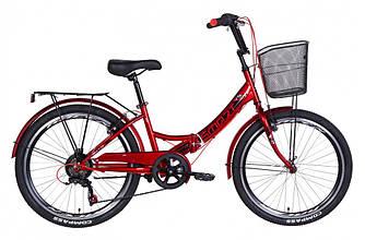 """Велосипед 24"""" FORMULA SMART З КОШИКОМ, ТРЕЩІТКА 2021 (вишневий 15"""")"""