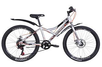 """Велосипед 24"""" FORMULA FLINT DD 2021 (чорно-ссерый з червоним 13"""")"""