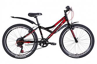 """Велосипед 24"""" DISCOVERY FLINT 2021 (чорно-червоний з сірим 13"""")"""