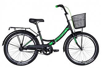 """Велосипед 24"""" FORMULA SMART З КОШИКОМ 2021 (чорно-зелений 15"""")"""