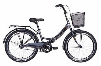 """Велосипед 24"""" FORMULA SMART З КОШИКОМ 2021 (сіро-чорний 15"""")"""