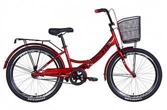 """Велосипед 24"""" FORMULA SMART С КОРЗИНОЙ 2021 (вишневый 15"""")"""