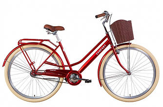 """Велосипед ST 28"""" DOROZHNIK COMFORT FEMALE Velosteel рама-19,5"""" рубиновый с багажником"""