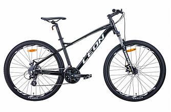 "Велосипед AL 27.5"" LEON XC-90 AM preload DD рама-19"" черно-белый c серым 2021"