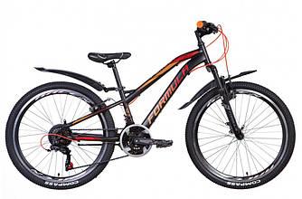 """Велосипед 24"""" FORMULA FOREST AM 2021  (черно-оранжевый 12,5"""")"""
