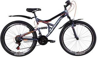 """Велосипед 26"""" DISCOVERY CANYON AM2 Vbr 2021 (графитово-черный с оранжевым 17,5"""")"""