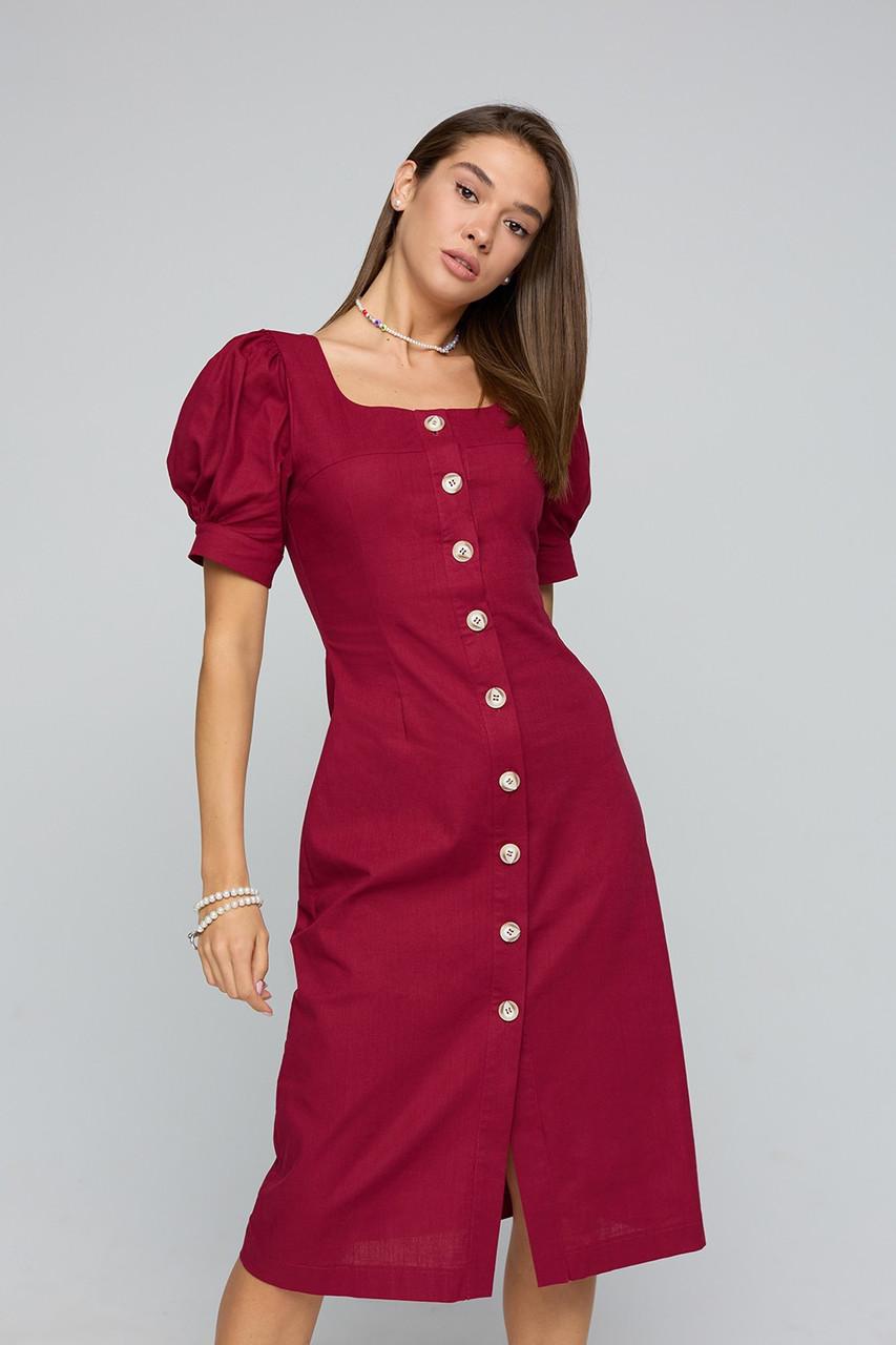 Льняное бордовое женское платье миди на пуговицах