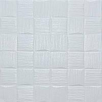 Набір 3D-панелей Біле плетіння Квадрати 10 шт самоклеюча м'яка для стелі візерунки завитки 700*700*5мм, фото 1