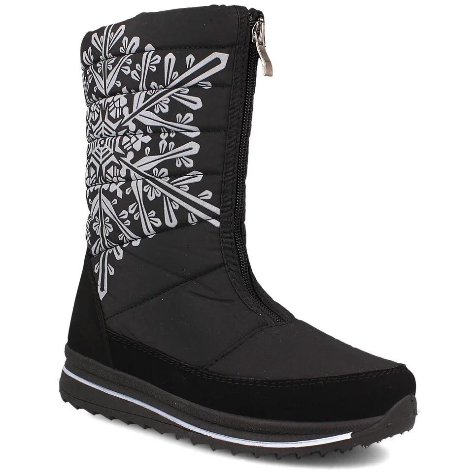Жіночі зимові чоботи дутики чорні сніжинка (Пр-3116ч)