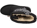 Женские зимние сапоги дутики черные снежинка (Пр-3116ч), фото 4