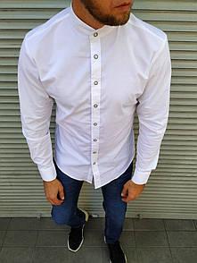 Біла стильна сорочка комір стійка