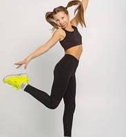 Лосины спортивные для девочек черные 152-158 рост