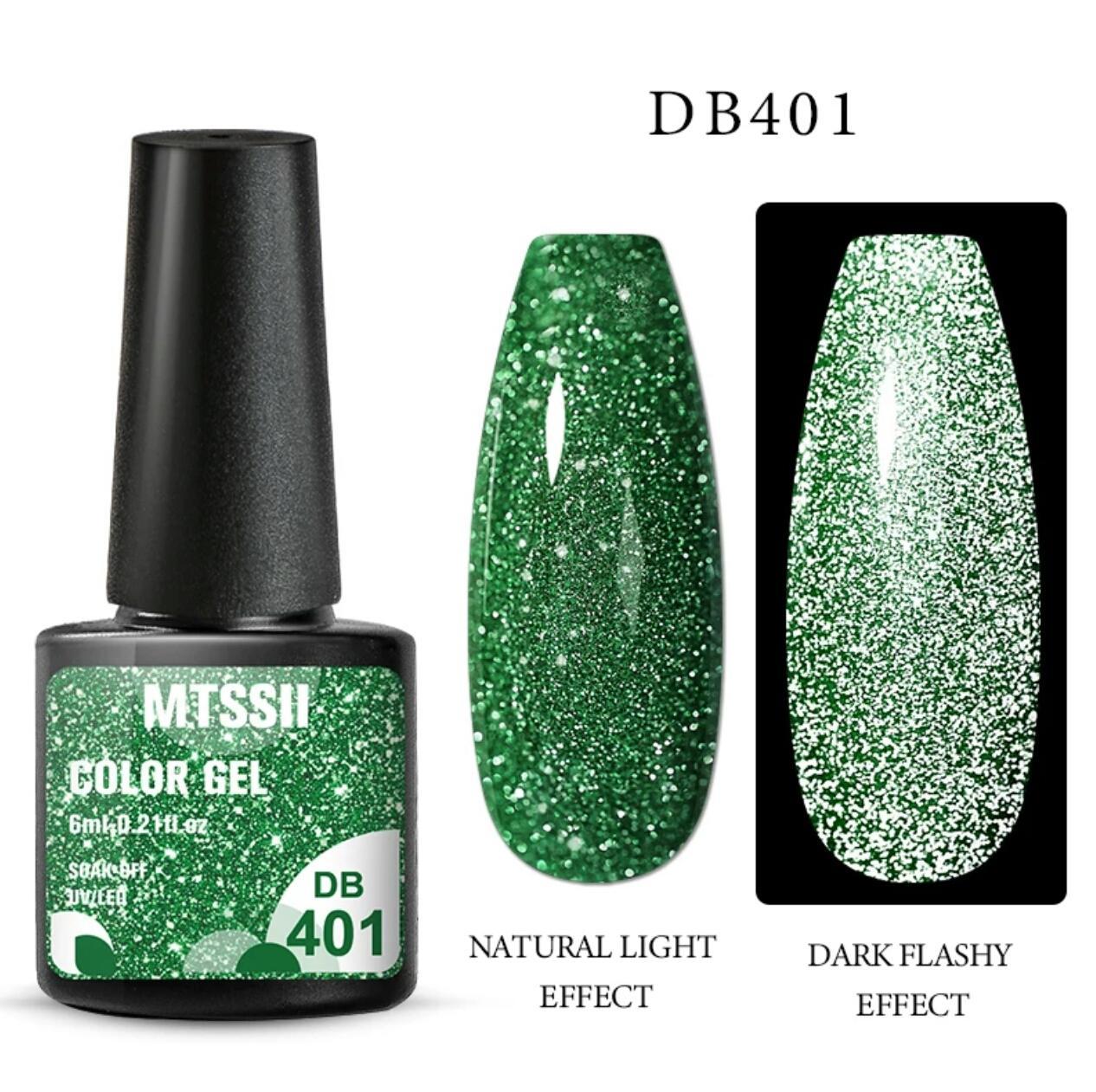 Світловідбиваючий Гель-Лак зелений №401, 6мл