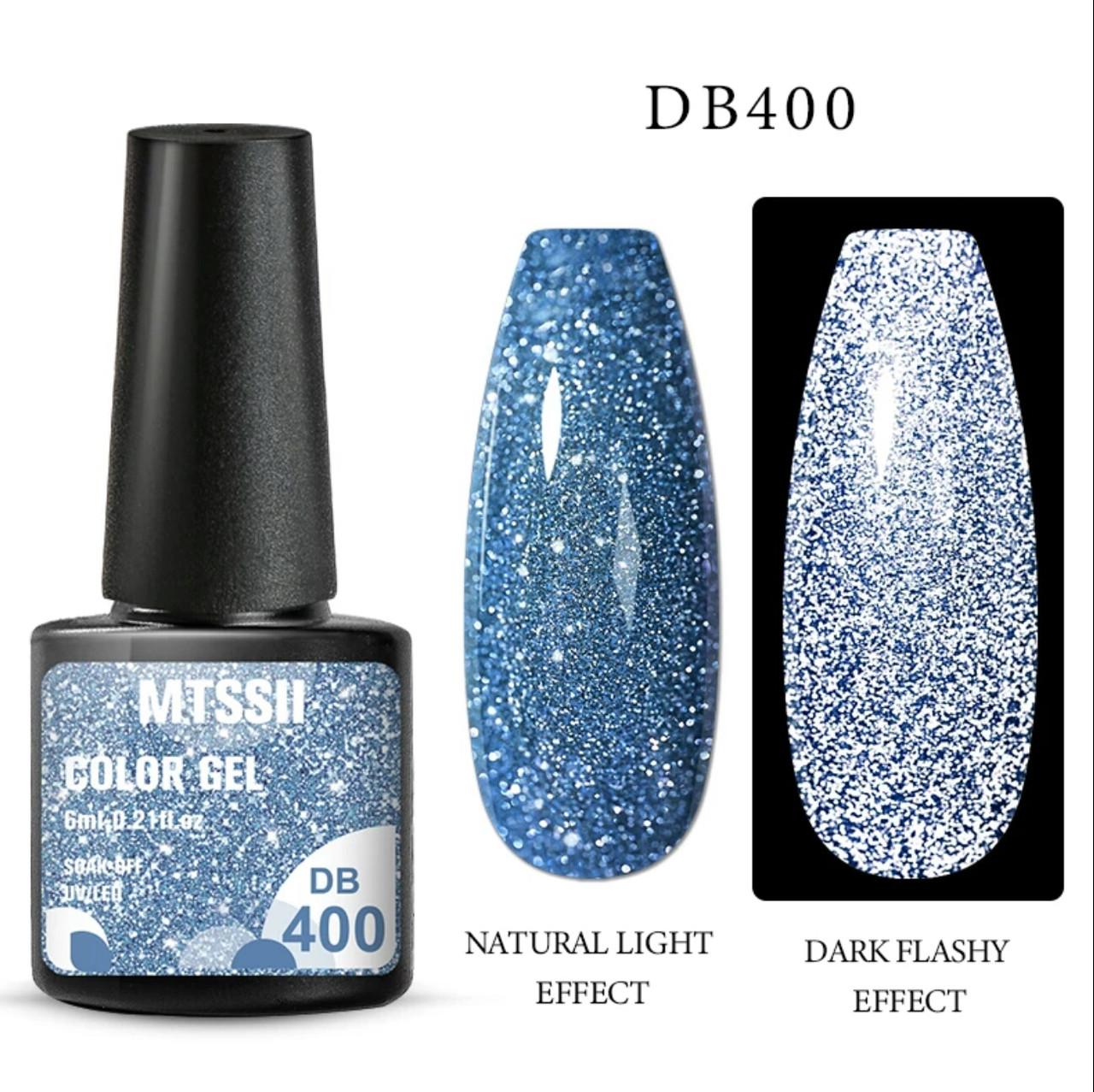 Світловідбиваючий Гель-Лак блакитний №400, 6мл