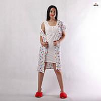 Комплект жіночий річний халат, нічна сорочка, для вагітних і годуючих мама білий 42-54р.