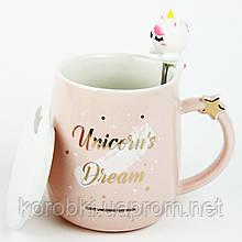 Керамическая чашка с крышкой и ложкой
