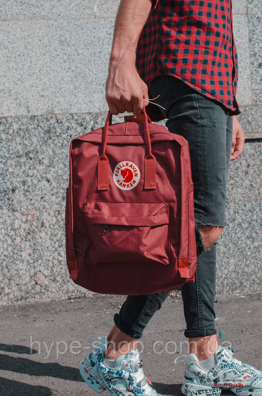 Рюкзак Fjallraven Kanken Classic 16l Burgundy портфель рюкзак канкен класік бордовий канкен класик бордовый