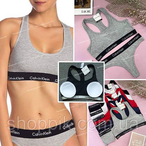 Жіноча нижня білизна Calvin Klein Black топ з чашками і труси стрінги   Комплект жіночої нижньої білизни, фото 2
