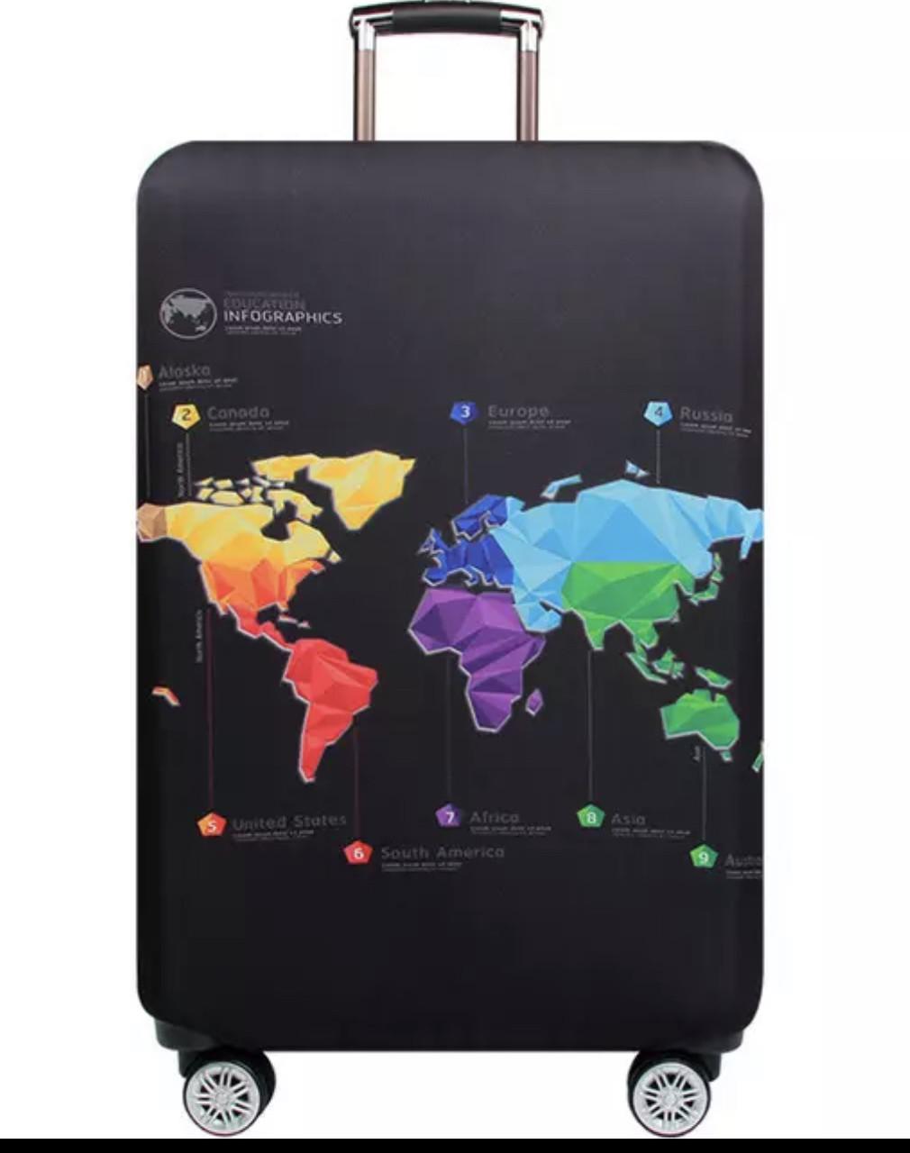 Чехол на маленький чемодан S с принтом карта чёрный