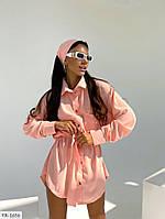 Стильне літнє плаття-сорочка під пояс