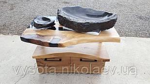 Набір в ванну: кам'яний умивальник & стіл з Горіха & мильниця