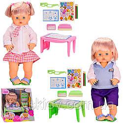 Лялька опції LD9507A B (12шт 2) 2 види, каже, звуки, п'є-піс,звук, шкільна парта, окуляри, каранда