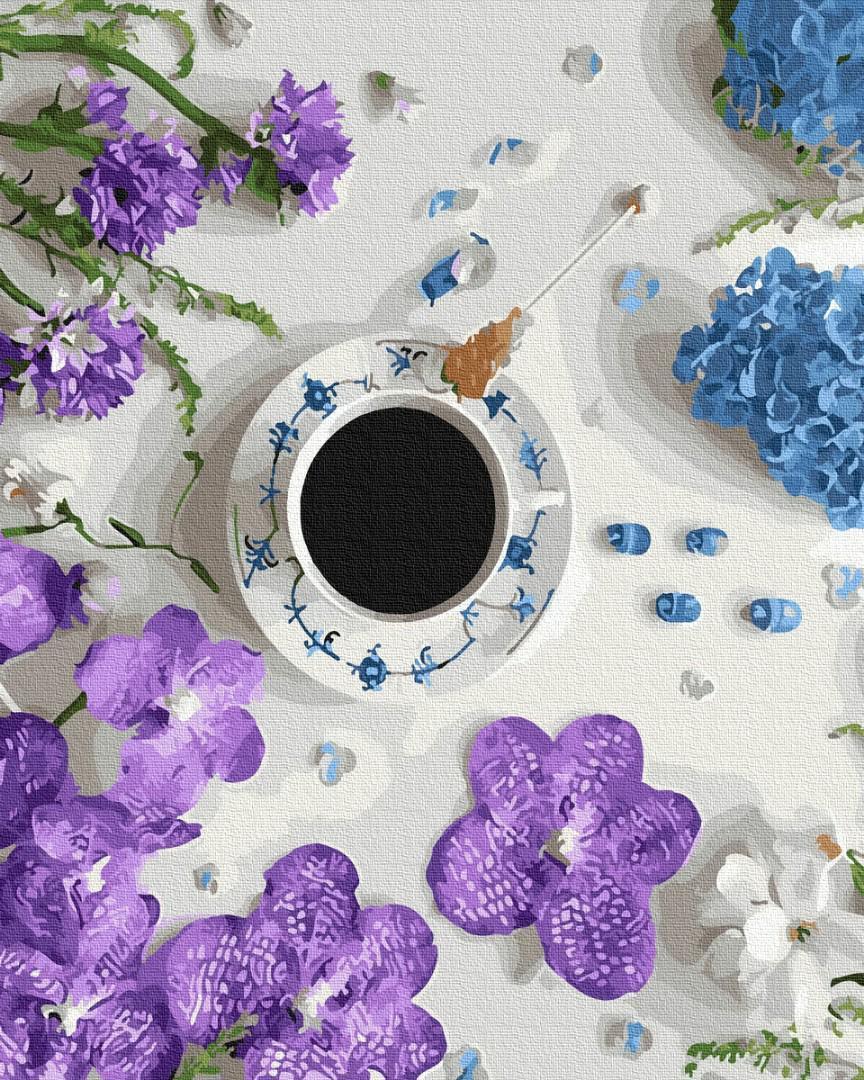 Картина рисование по номерам BK-GX31056 Фиалковый кофе 40х50см набор для росписи по цифрам