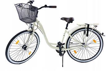 Велосипед женский городской Cossack 28 Nexus-3 стальной crem с корзиной Польша