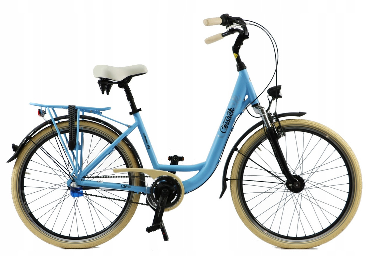Велосипед жіночий міський Cossack 26 Nexus-3 алюмінієвий sky blue з кошиком Польща