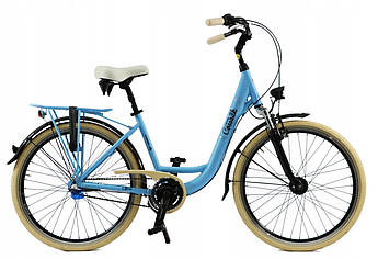 Велосипед женский городской Cossack 26 Nexus-3 алюминиевый sky blue с корзиной Польша