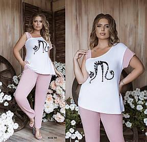 Костюм женский из вискозы, футболка и брюки (размеры от 50 до 64)