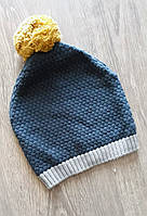 Вязаная  шапка для мальчика  с помпоном