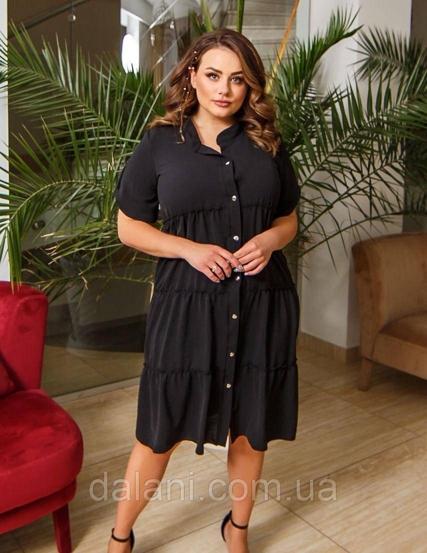 Жіноче чорне плаття-сорочка міді великі розміри