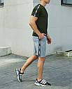 Річний комплект Пума (Puma) хакі футболка чоловіча + сірі шорти S, M, L, XL, фото 7