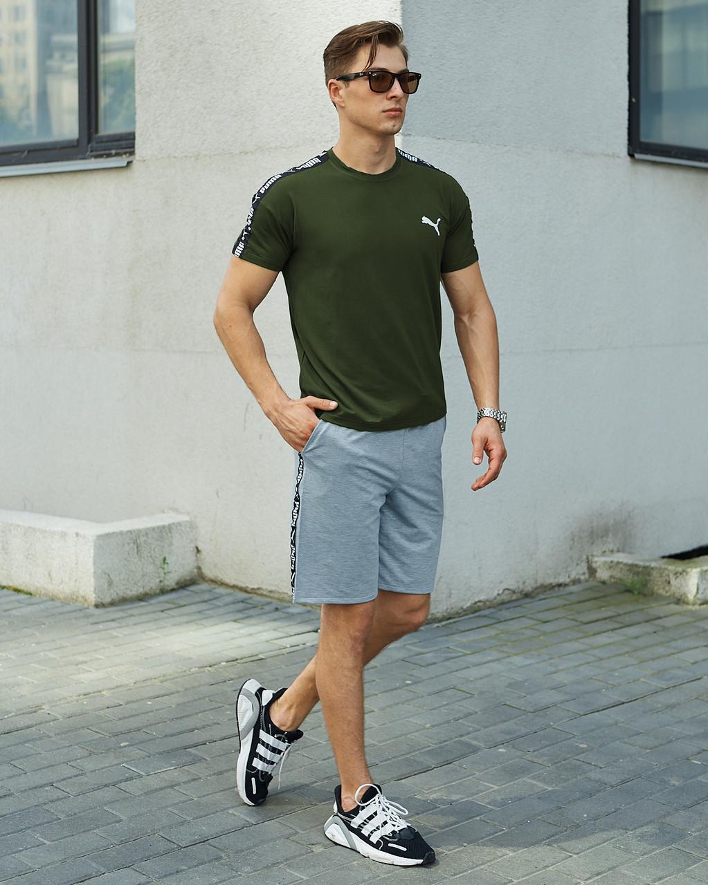 Річний комплект Пума (Puma) хакі футболка чоловіча + сірі шорти S, M, L, XL