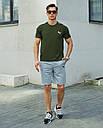 Річний комплект Пума (Puma) хакі футболка чоловіча + сірі шорти S, M, L, XL, фото 4