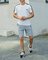 Летний комплект Пума (Puma) белая футболка мужская + серые шорты S, M, L, XL