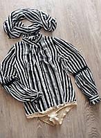 Стильная,  черно- белая полосатая рубашка боди, блуза с шарфом 152/158 рост