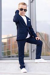 Костюм синий школьный классика пиджак+брюки для мальчика на одну пуговицу 116-146