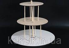 Підставка для 3-х ярусного торта дерев'яна D-35/D-24/D-18